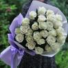 Букет 25 белых голландских роз высотой 80 см на заказ