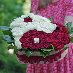 51 roses in a box in the form of heart a In-Yan
