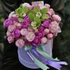 Букет в шляпной коробке с пионовидными розами Поэма