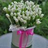 Букет 99 белых тюльпанов в шляпной коробке на заказ