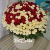 201 роза в шляпной коробке на заказ в Kvitochka