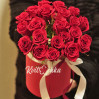 Bouquet of 21 red rose in a hatbox to order