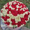 Огромный букет 301 роза алая и белая в шляпной коробке