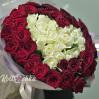 """Букет - сердце из 51 розы красной и белой """"Контраст"""""""