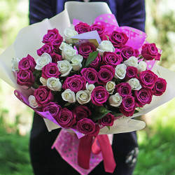 A bouquet of 51 roses