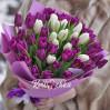 Букет 51 тюльпан белый и фиолетовый на заказ