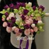"""Букет в шляпной коробке с орхидеями """"Новый стиль"""" на заказ"""