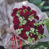 """Bouquet of red roses and white eustomas, the """"Fire of Love"""""""