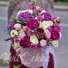 """A Bouquet with peonies and Protea in a large hatbox """"Exotic"""""""