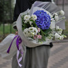 A Bouquet with blue hydrangea and eustoma New Style
