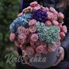 Букет с пионовидными розами и гортензиями в шляпной коробке