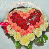"""Basket of roses with heart """"Expected to meet"""""""
