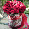 21 red roses in a hat box to order