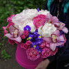 "Bouquet of peonies and orchids in a hatbox ""Holiday Blues"""
