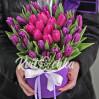 Букет 29 тюльпанов микс в шляпной коробке