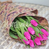 Букет 9 розовых тюльпанов для подарков к 8 Марта коллегам