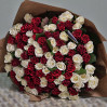 Bouquet of 101 red roses 60 cm of red and white roses