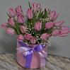 Букет 25 розовых тюльпанов в шляпной коробке на заказ