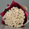 Букет 51 белая роза средней длины