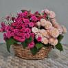 Корзина с кустовыми розами розовых и пудровых тонов