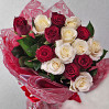 Bouquet of 15 red and white high roses
