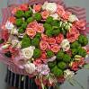 """Большой сборный букет с персиковыми розами """"Триумф"""""""