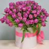 51 фиолетовый тюльпан в шляпной коробке купить в Киеве с доставкой