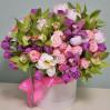 Большая шляпная коробка с пионами и орхидеями на заказ