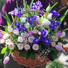Большая цветочная корзина с ирисами купить с доставкой