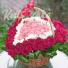 101 роза микс в виде сердца в корзине