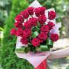 Букет 19 голландских алых роз сорта Фридом