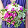 the bride's Bouquet with freesia and eustoma to order with delivery in Kiev