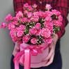 15 кустовых розовых роз в шляпной коробке