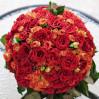 Украшение зала на свадьбу: красно-оранжевая композиция в виде шара