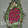 A Wreath of pine needles and Burgundy roses No. 94 (height 170 cm)