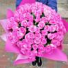 101 розовая роза высотой 60 см
