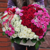 Heart of the 51 roses of different colors and varieties in box