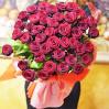 """Букет 45 бордовых роз сорта """"Гран При"""" высотой 70 см"""