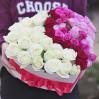 Сердце из 41 розы в коробке