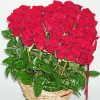 41 red rose in a heart shape in a basket