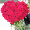 By 51 red rose heart shape with delivery in Kiev