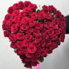 Bouquet of 51 red rose in the shape of a heart buy with delivery