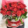 29 алых роз в шляпной коробке купить с доставкой в Киеве