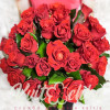 29 red roses in a hat box to buy with delivery in Kiev