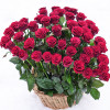 51 roses heart shaped in basket