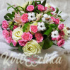 """Большой Сборный букет с розами и хлопком """"Розовая дымка"""""""