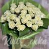 Букет 33 белые розы высотой 70 см