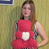 Купить мишку из искусственных красных роз 3d недорого в Киеве