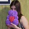 Мишка из фоамирановых роз 3d фиолетовый 25 см с доставкой в Киеве