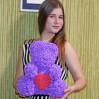 Купить мишку из роз 3d фиолетового 40 см с доставкой в Киеве